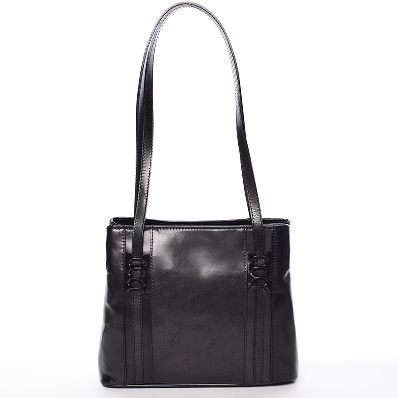 Černá kožená kabelka přes rameno - ItalY Zosima