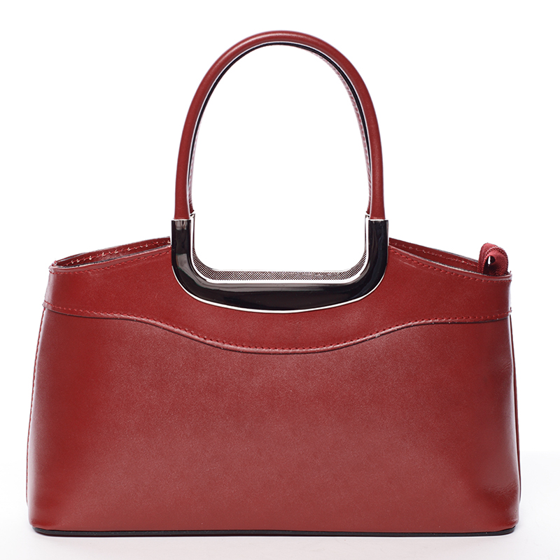 Červená kožená kabelka do ruky ItalY Stefanie