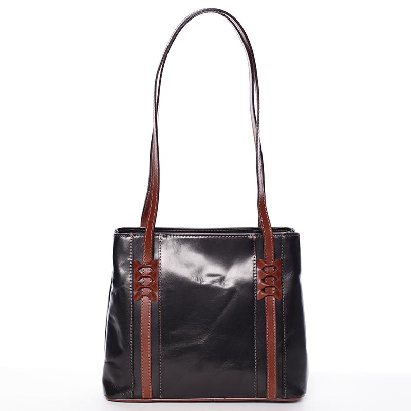 Černo hnědá kožená kabelka přes rameno - ItalY Zosima