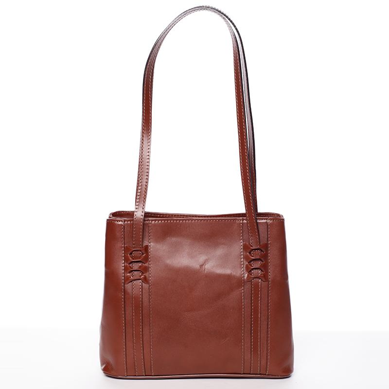 Hnědá kožená kabelka přes rameno - ItalY Zosima