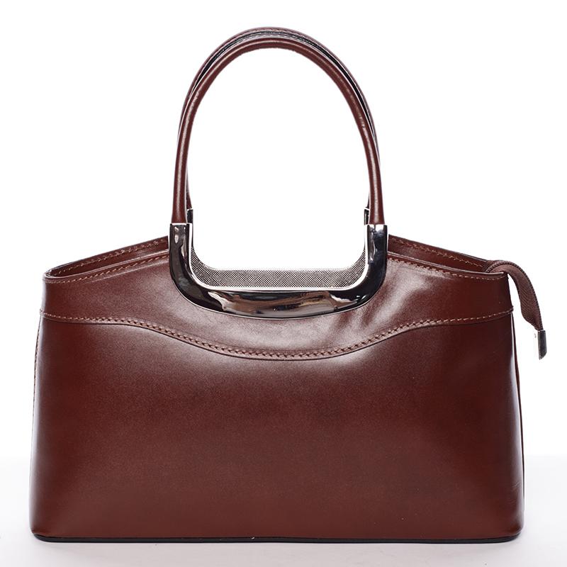 Hnědá kožená kabelka do ruky ItalY Stefanie