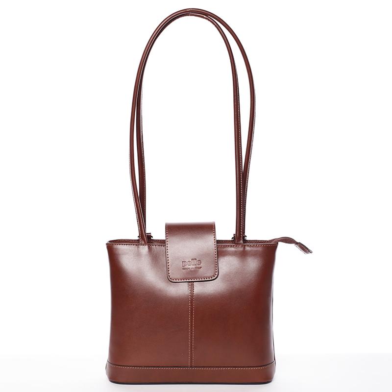 Unikátní dámská kožená kabelka/batoh hnědá - ItalY Zephyra