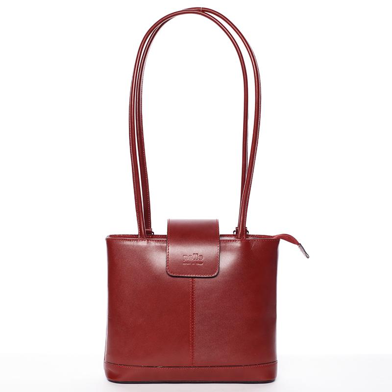 Unikátní dámská kožená kabelka/batoh červená - ItalY Zephyra