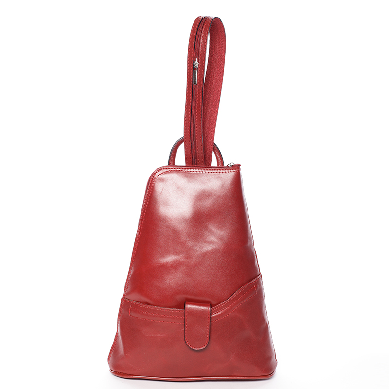 Dámský originální kožený červený batůžek - ItalY Zenina