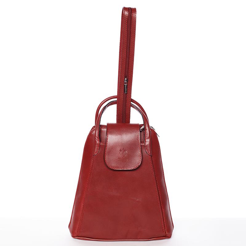 Dámský originální kožený červený batůžek - ItalY Zenobe