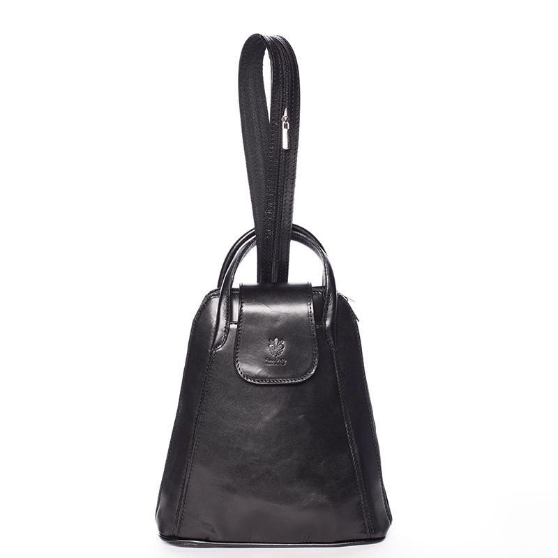 Dámský originální kožený černý batůžek - ItalY Zenobe