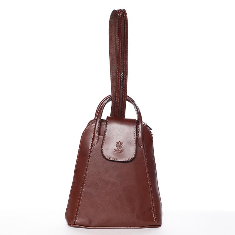 Dámský originální kožený hnědý batůžek - ItalY Zenobe
