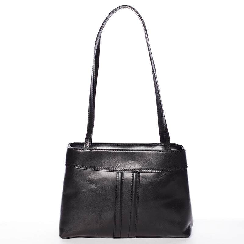 Černá středně velká kožená kabelka přes rameno - ItalY Zanthe