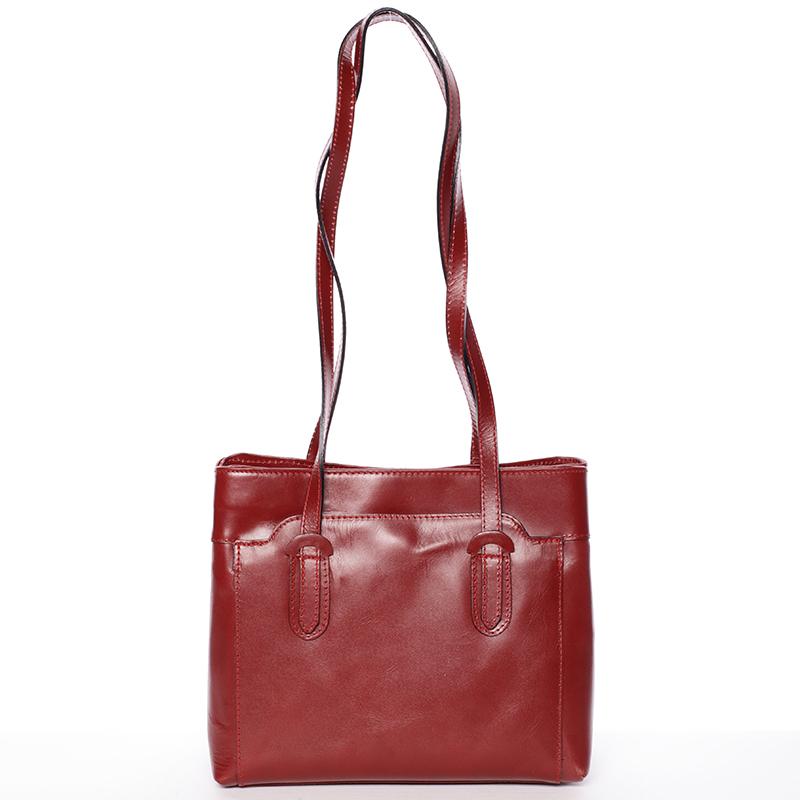Červená kožená kabelka přes rameno - ItalY Yura