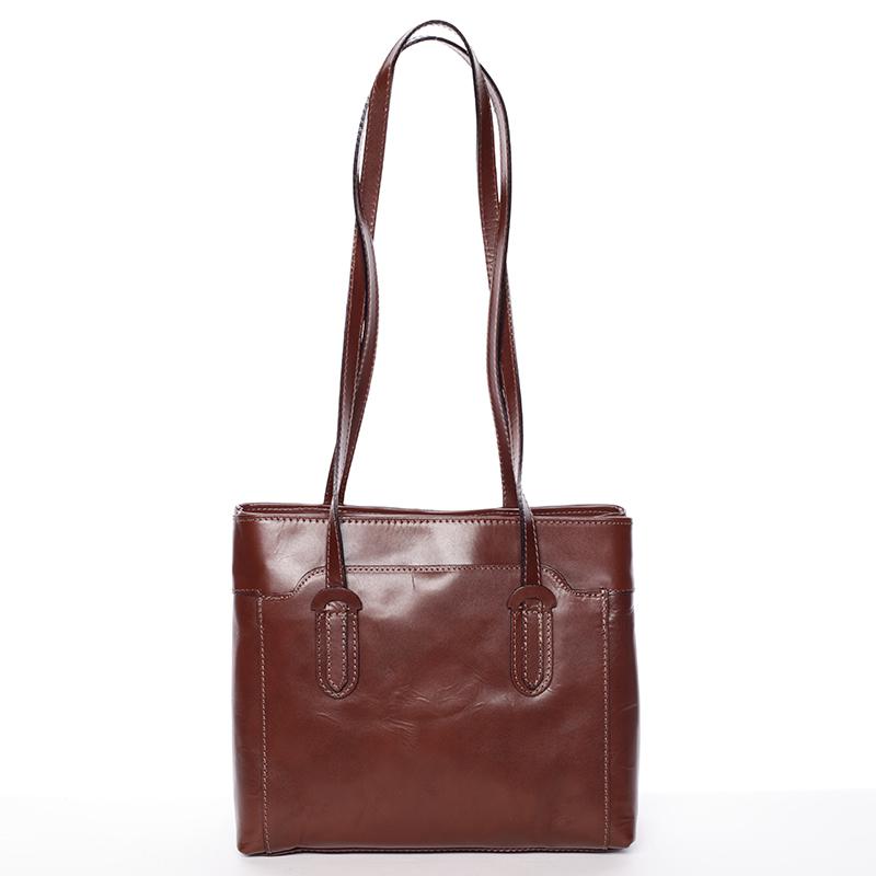 Hnědá kožená kabelka přes rameno - ItalY Yura