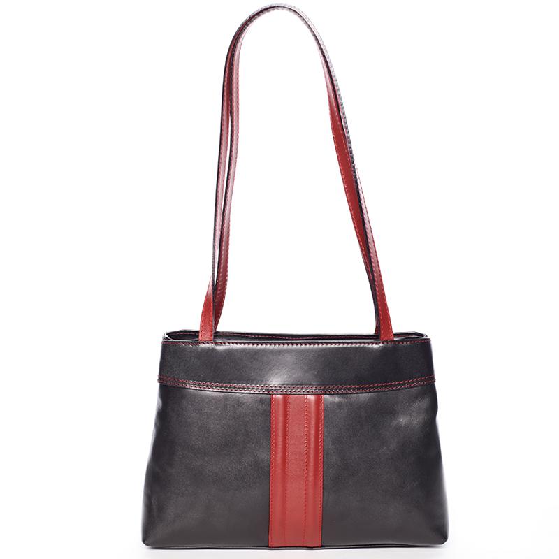 Černo červená středně velká kožená kabelka přes rameno - ItalY Zanthe