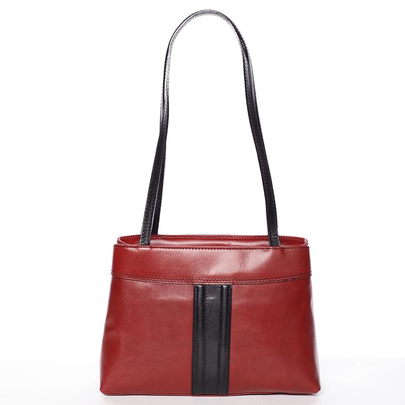 Červeno černá středně velká kožená kabelka přes rameno - ItalY Zanthe