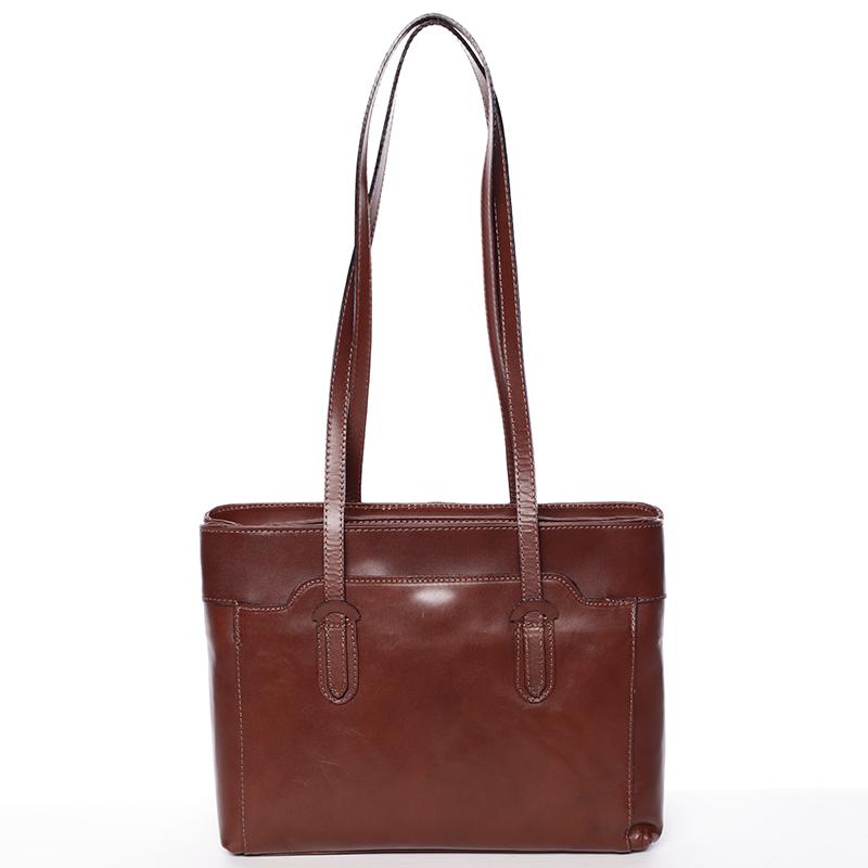 Elegantní velká dámská kožená kabelka hnědá - Italy Vilmaris