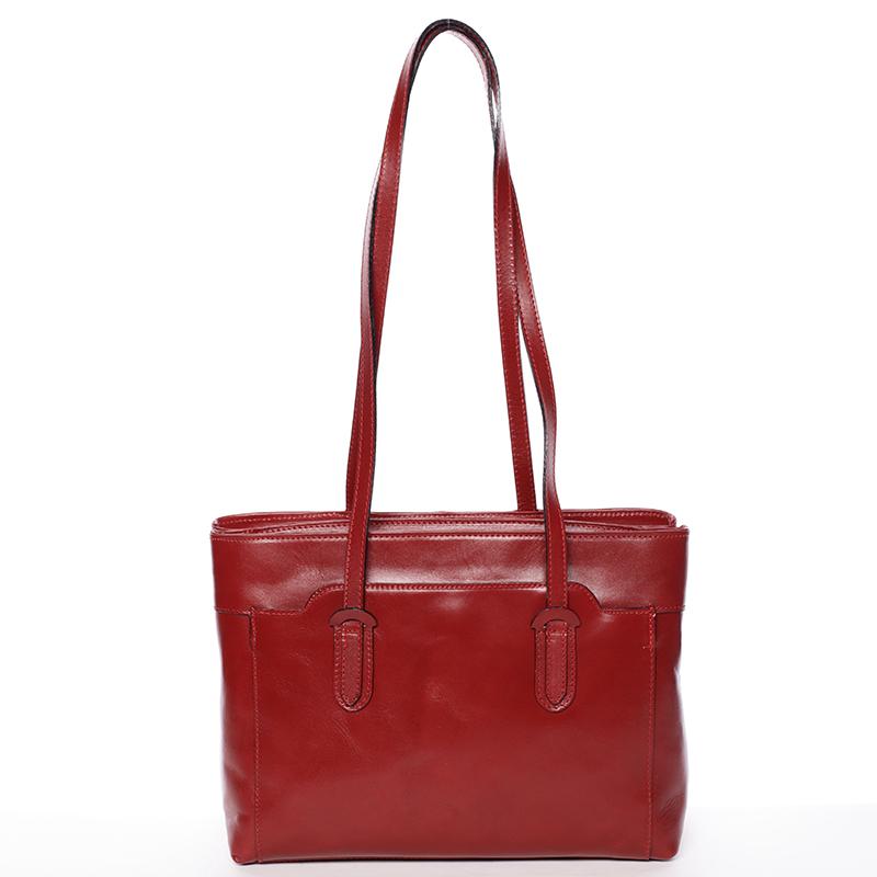 Elegantní velká dámská kožená kabelka červená - Italy Vilmaris