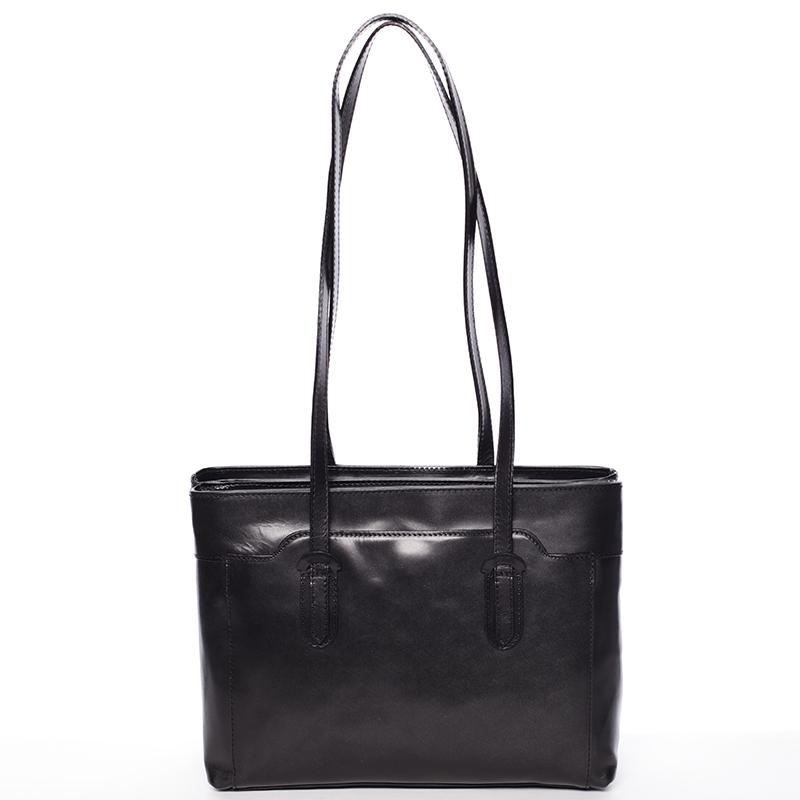 Elegantní velká dámská kožená kabelka černá - Italy Vilmaris