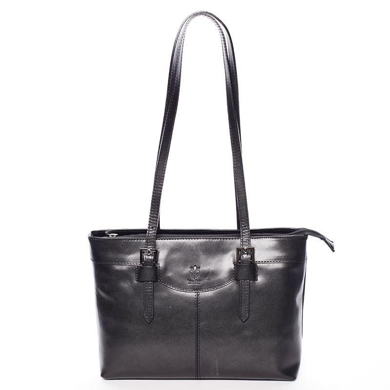 Módní dámská kožená kabelka černá - ItalY Zoelle