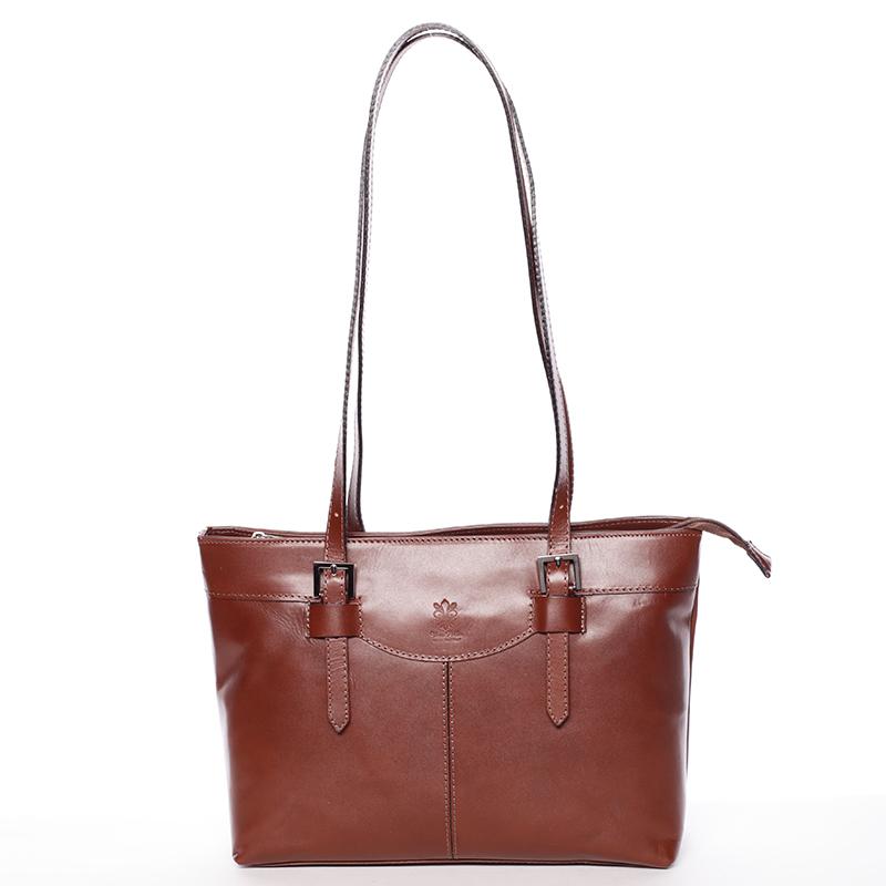 Módní dámská kožená kabelka hnědá - ItalY Zoelle