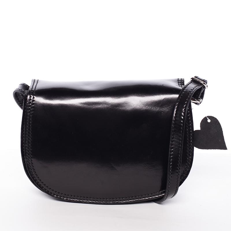 Menší černá lakovaná crossbody kožená kabelka - ItalY Zoya
