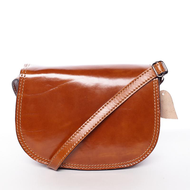 Menší koňaková lakovaná crossbody kožená kabelka - ItalY Zoya
