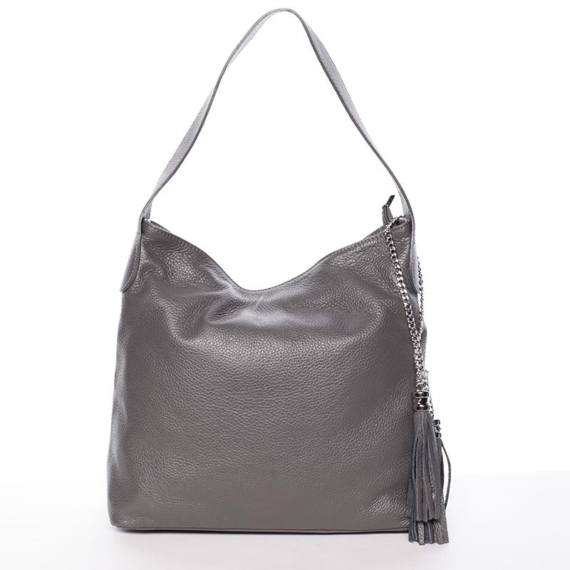Módní kožená kabelka přes rameno šedá - ItalY Georgine