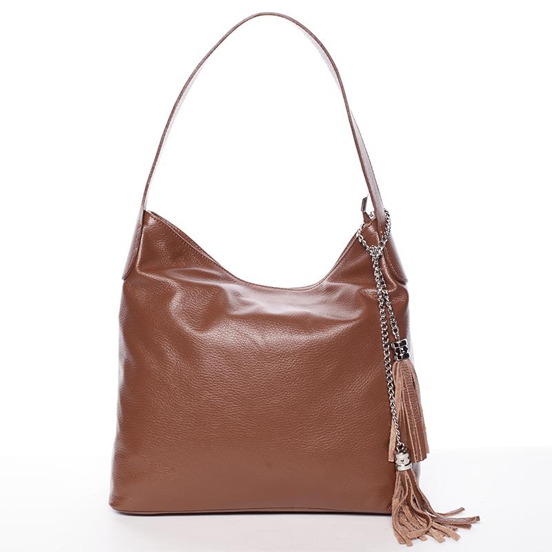 Módní kožená kabelka přes rameno hnědá - ItalY Georgine