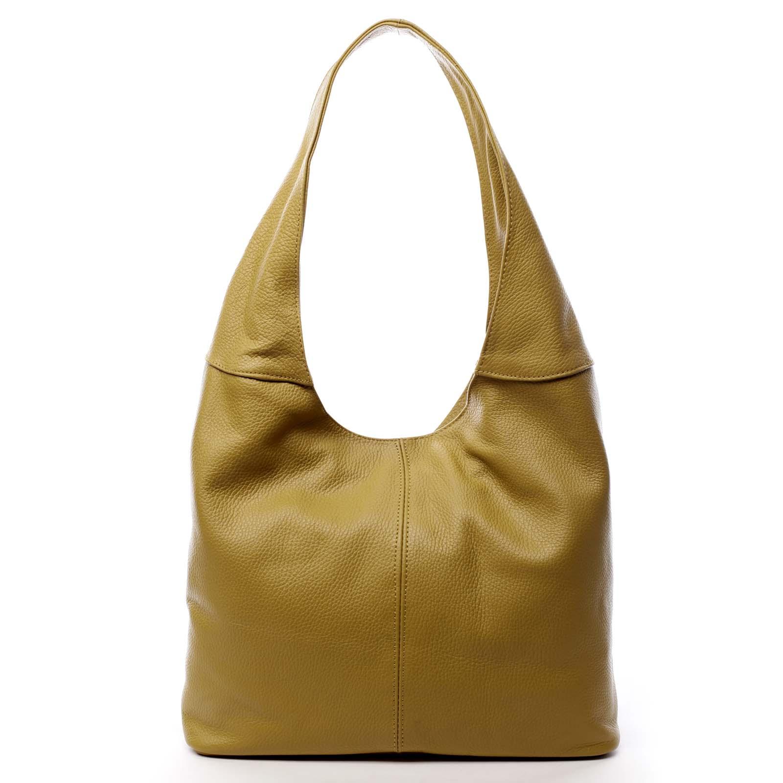 Dámská kožená kabelka přes rameno žlutá - ItalY SkyFull