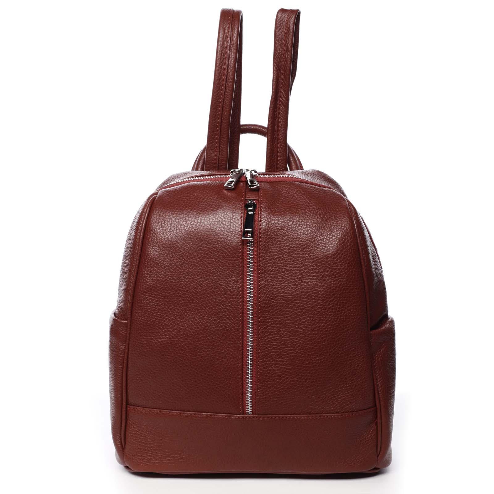 Dámský kožený batoh červený - ItalY Lissetta