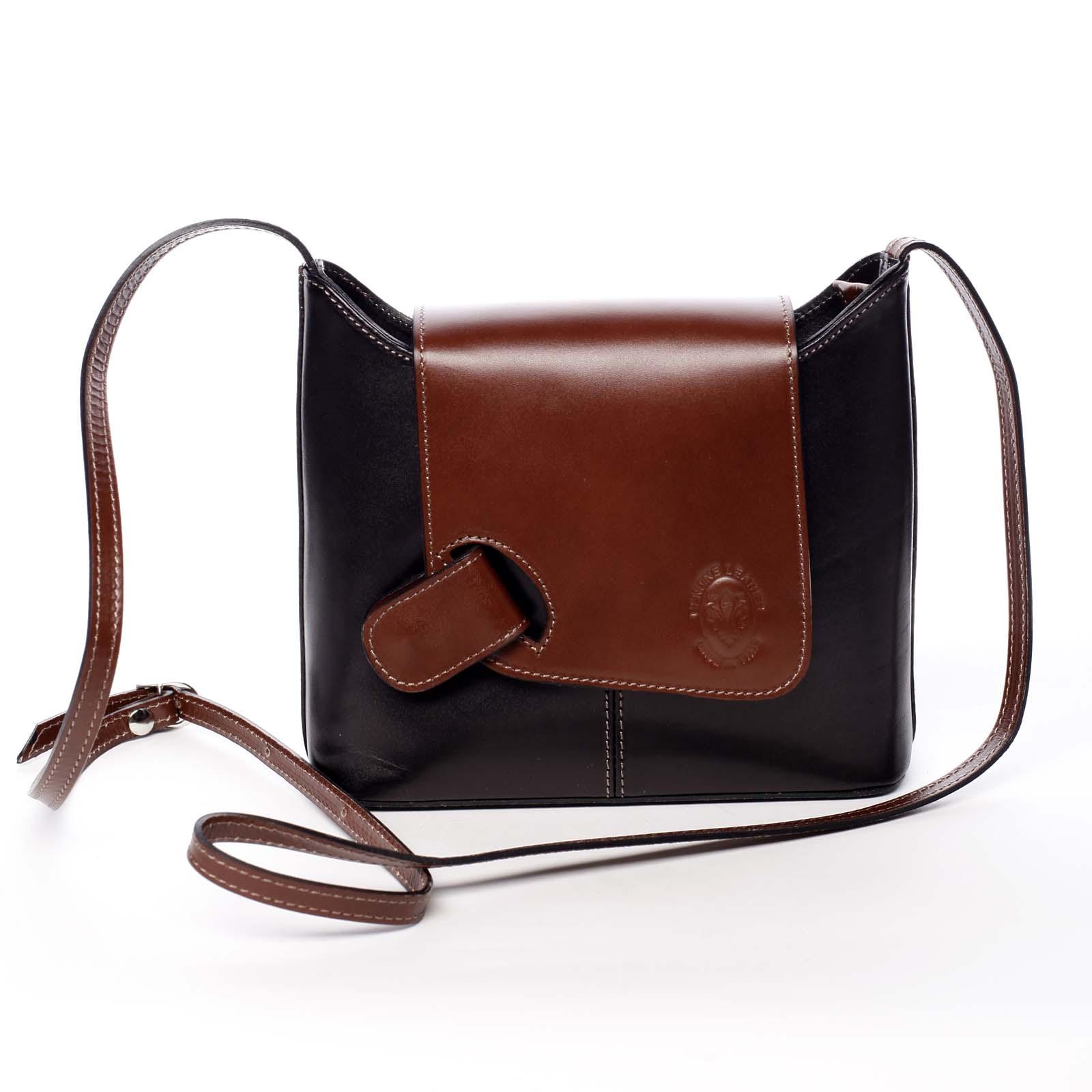 Dámská kožená crossbody kabelka černo hnědá - ItalY Misty