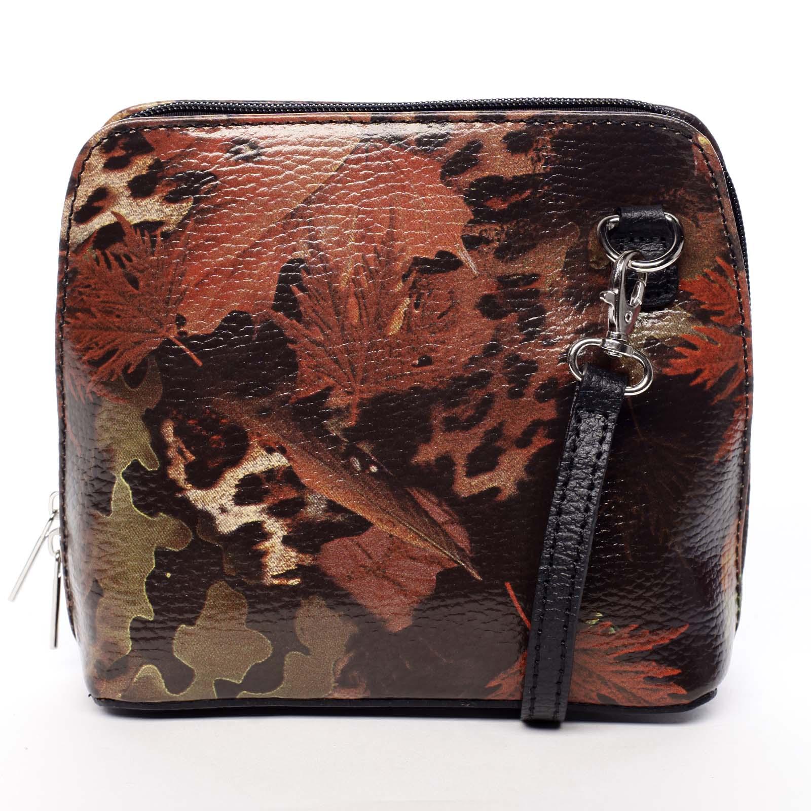 Dámská kožená crossbody kabelka podzimní černá - ItalY Hannah