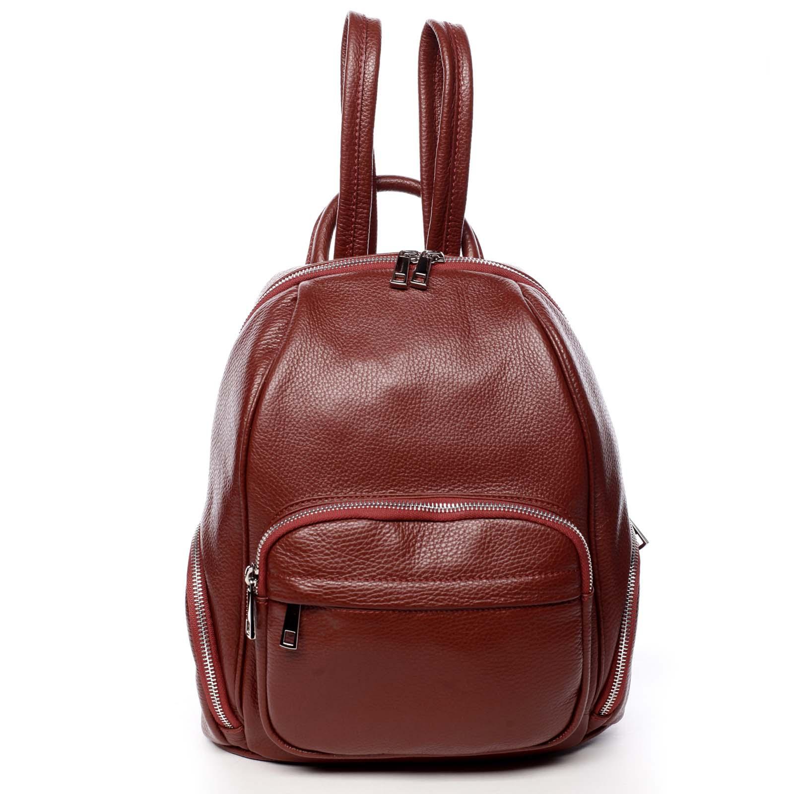 Dámský kožený batoh červený - ItalY Minetta