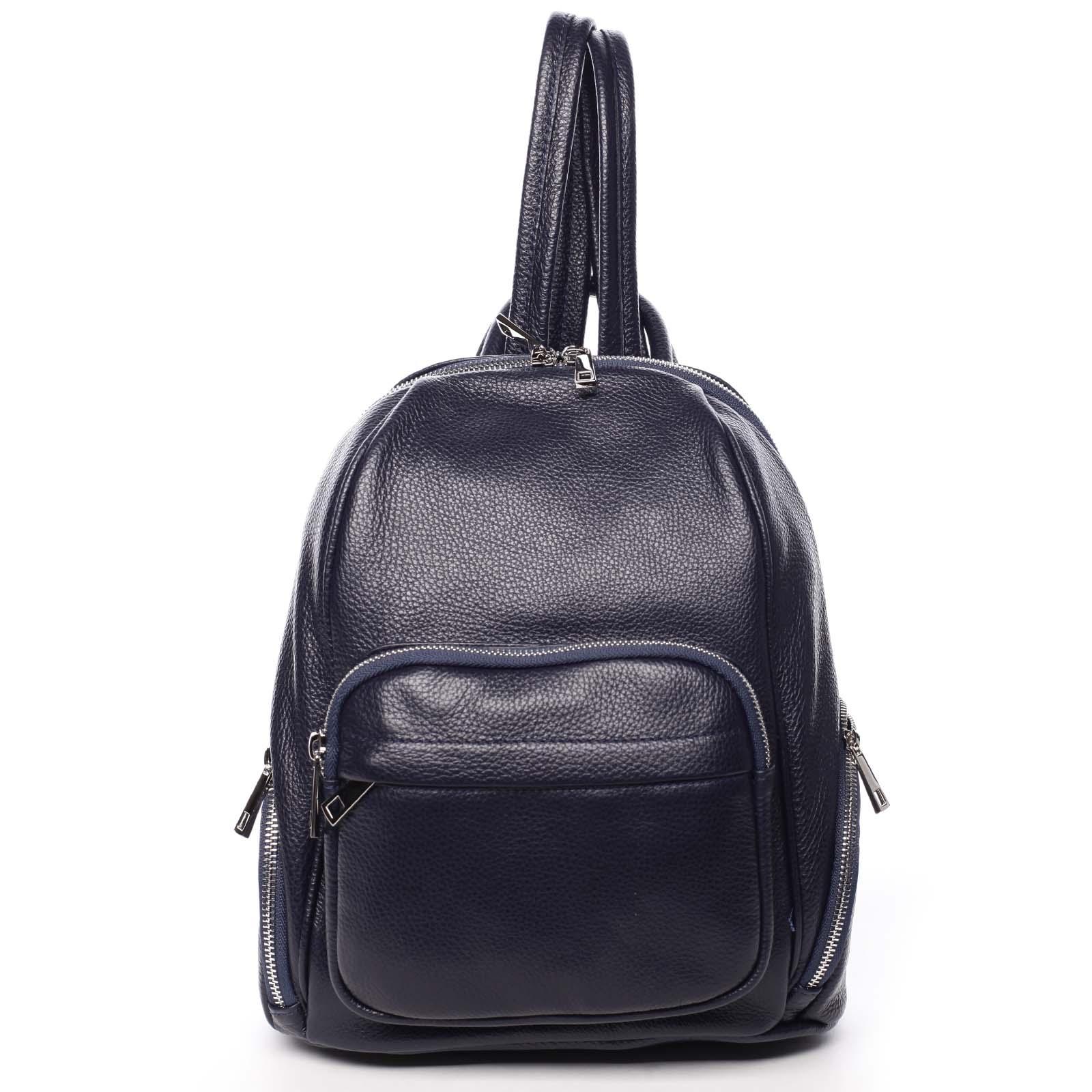 Dámský kožený batoh tmavě modrý - ItalY Minetta