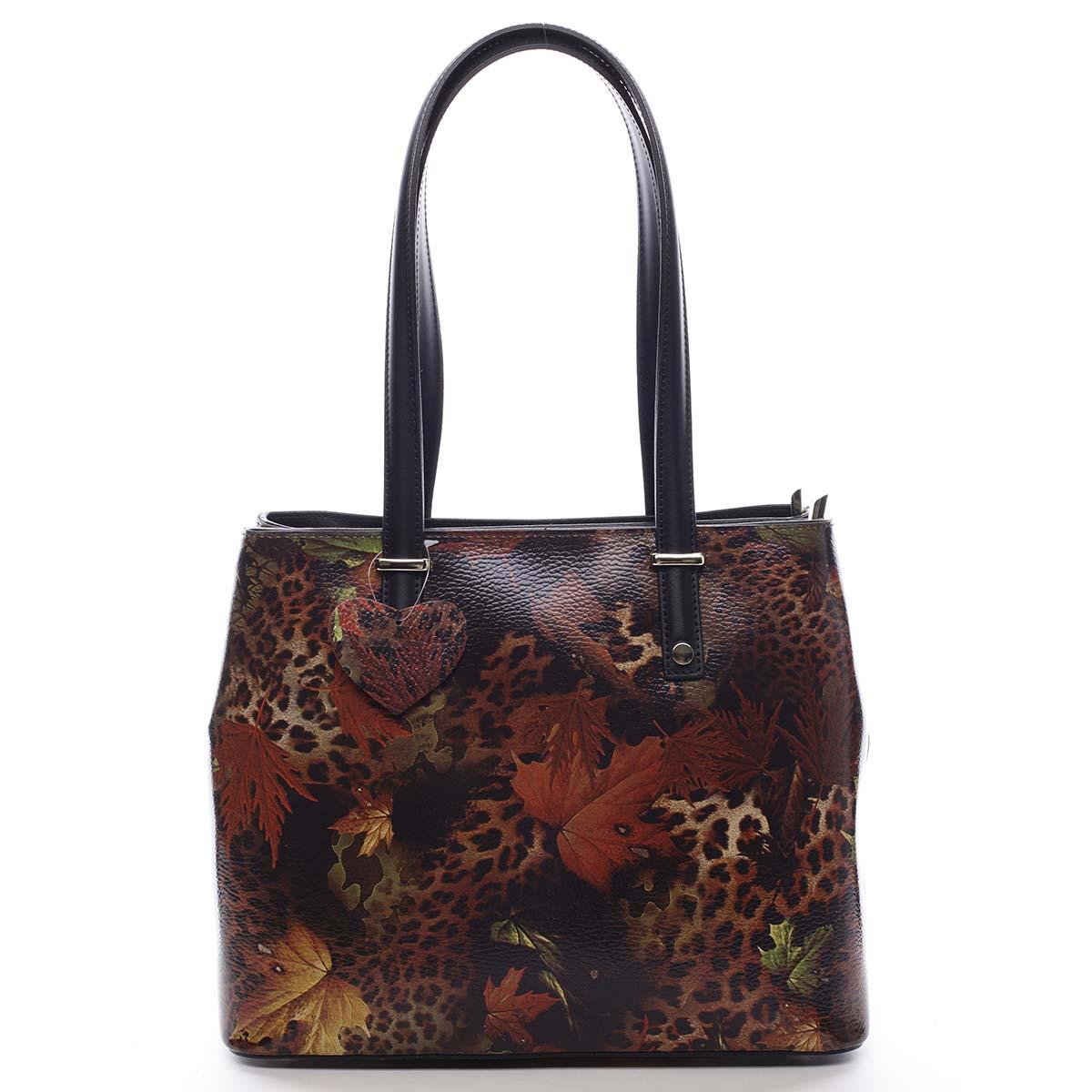 Exkluzivní dámská kožená kabelka podzimní černá - ItalY Logistilla
