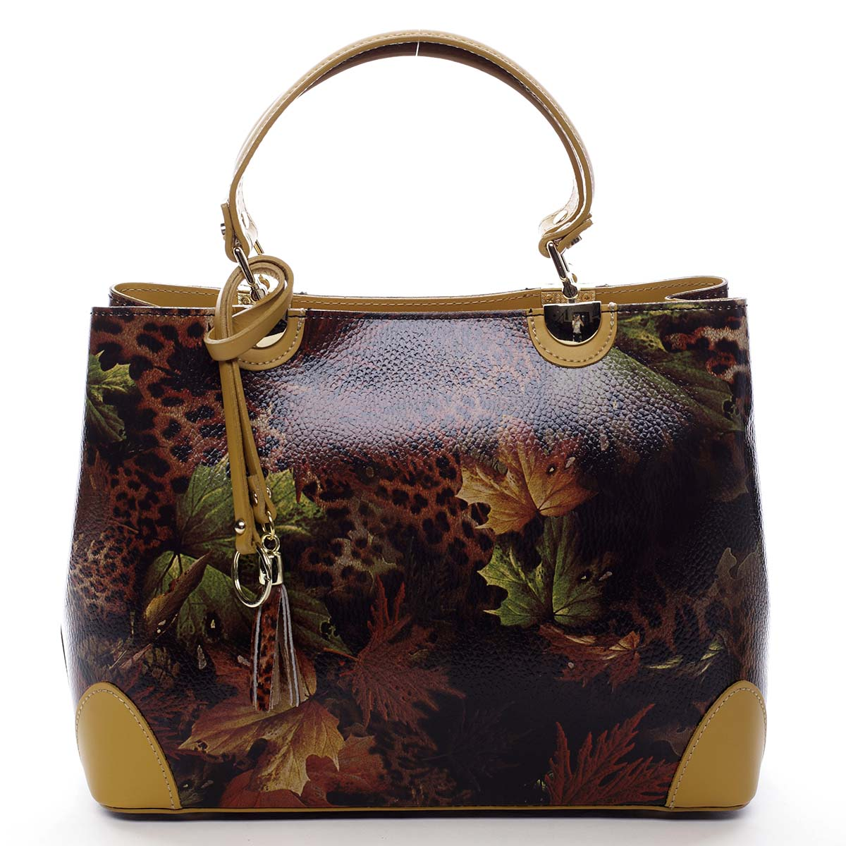 Originální dámská kožená kabelka podzimní žlutá - ItalY Mattie