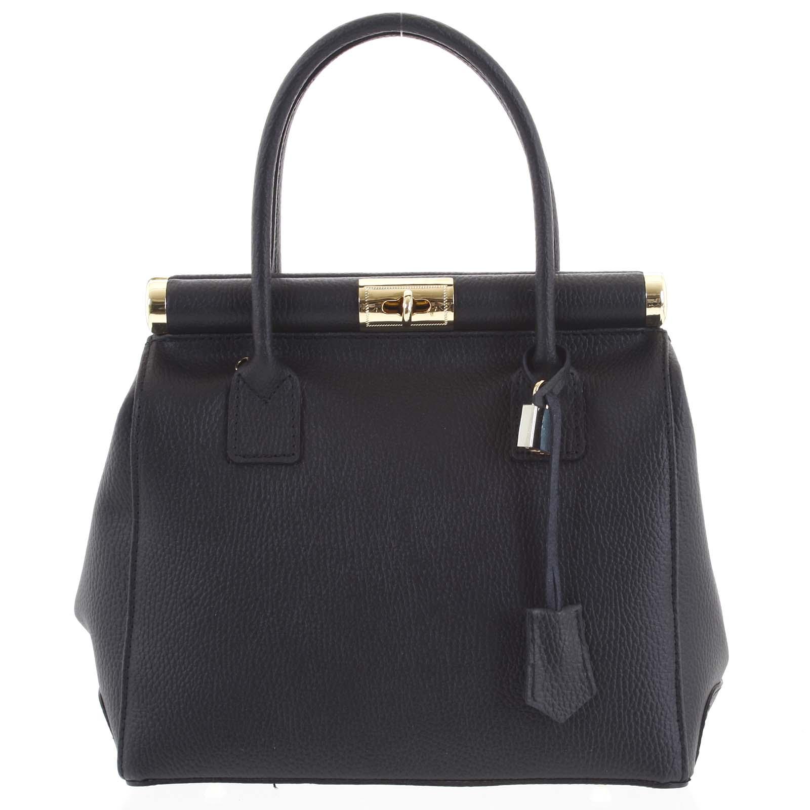 Luxusní dámská kožená kabelka do ruky černá - ItalY Hyla