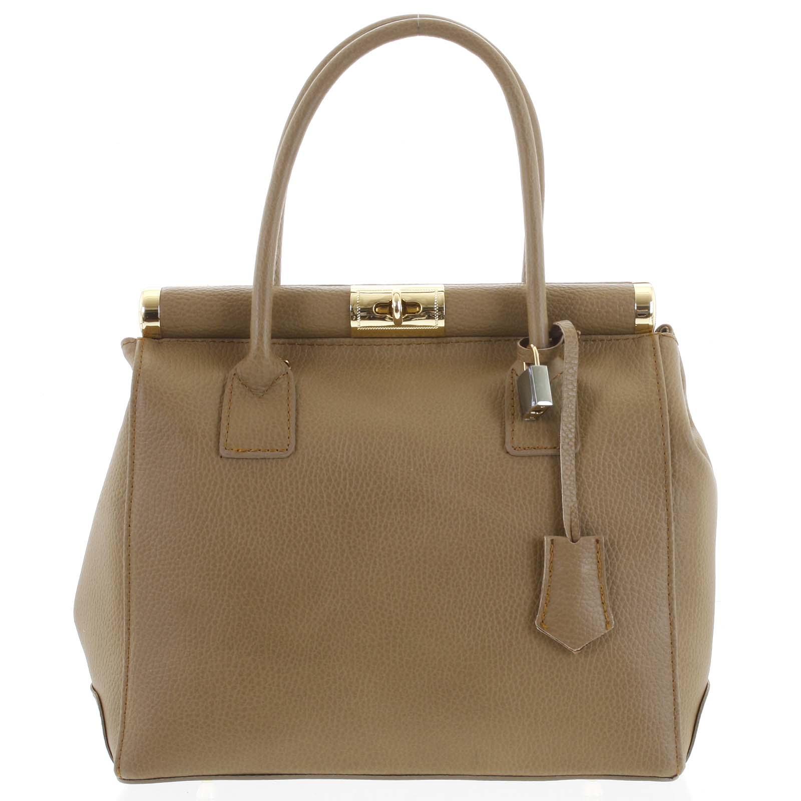 Luxusní dámská kožená kabelka do ruky béžová - ItalY Hyla