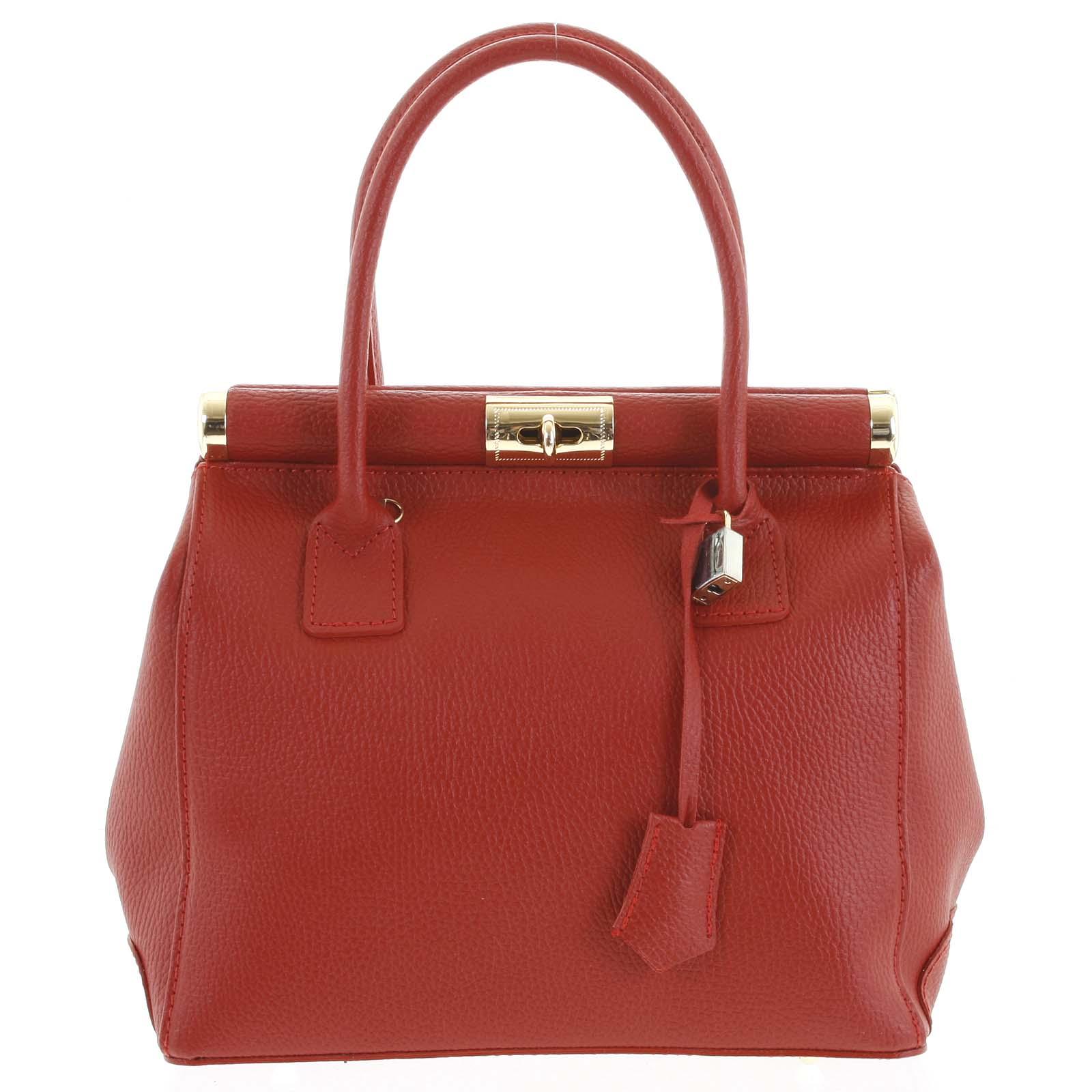 Luxusní dámská kožená kabelka do ruky červená - ItalY Hyla
