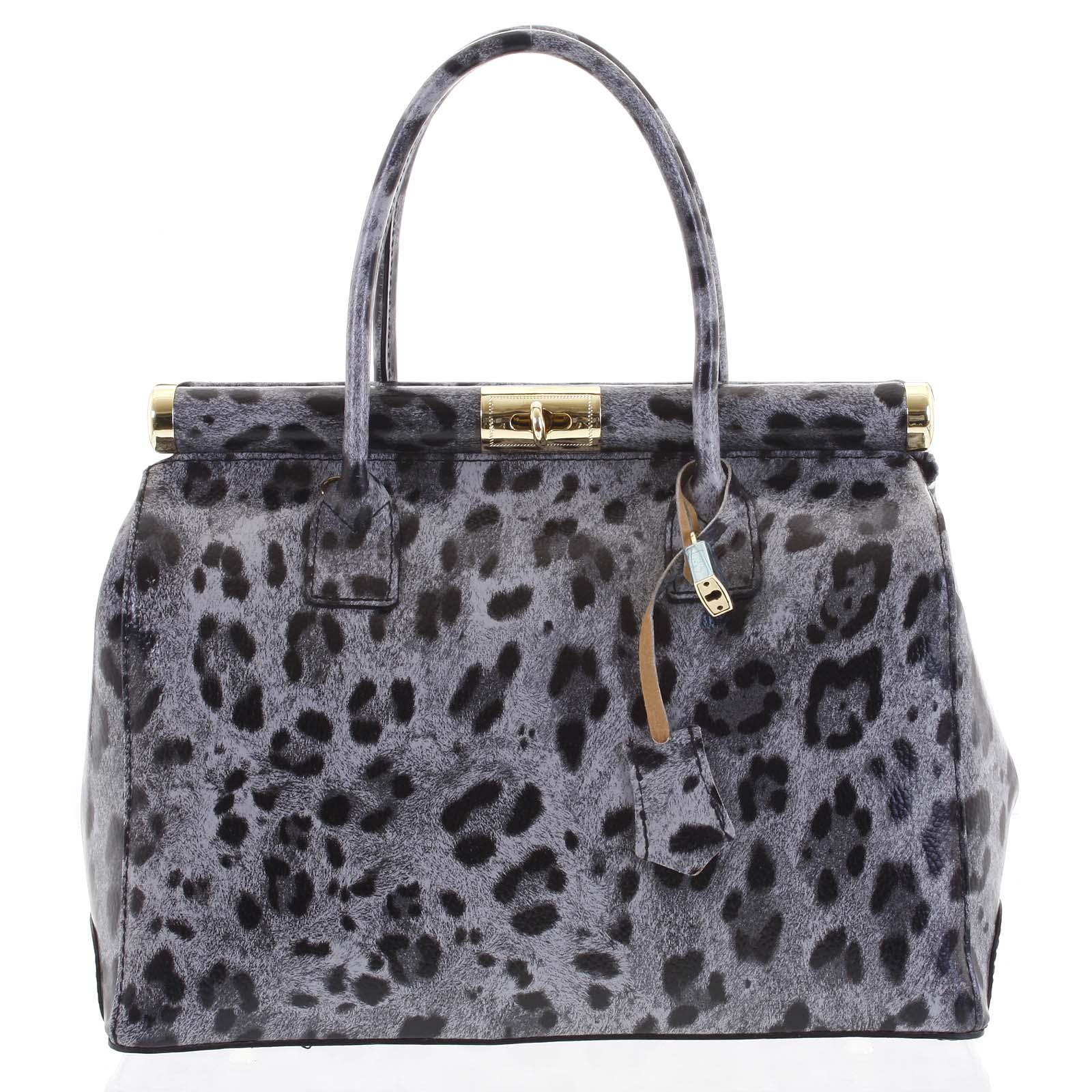 Módní originální dámská kožená kabelka do ruky šedá - ItalY Hila Jaguar