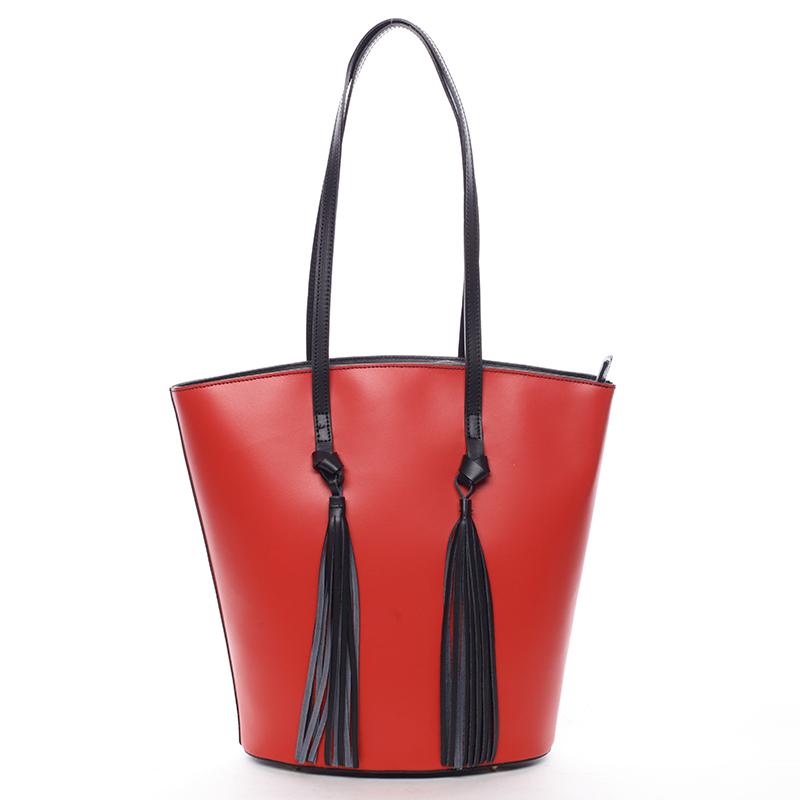 Elegantní dámská kožená kabelka červená - ItalY Holly