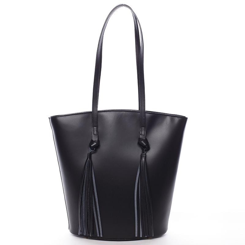 Elegantní dámská kožená kabelka černá - ItalY Holly