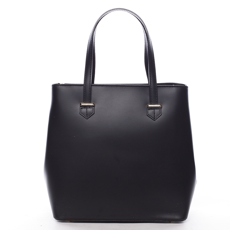 Módní dámská kožená kabelka černá - ItalY Rohais
