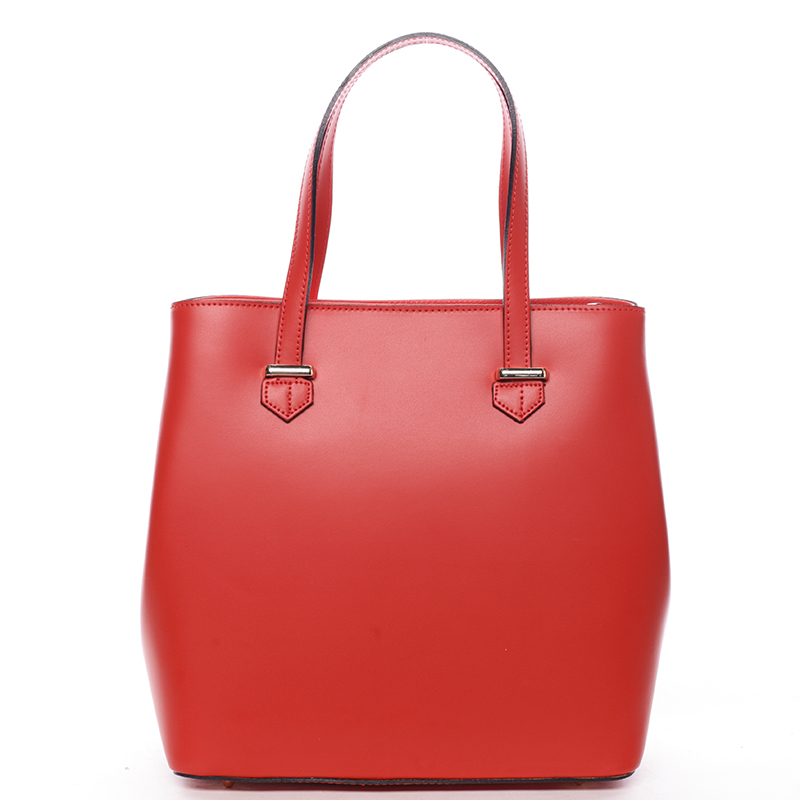 Módní dámská kožená kabelka červená - ItalY Rohais
