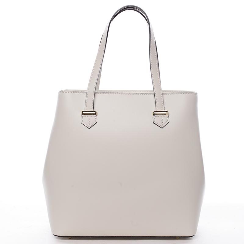 Módní dámská kožená kabelka krémová - ItalY Rohais