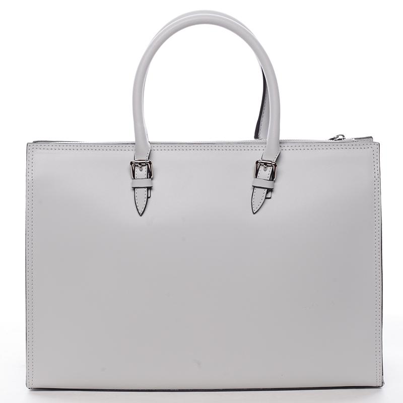 Elegantní dámská kožená kabelka šedá - ItalY Rohais