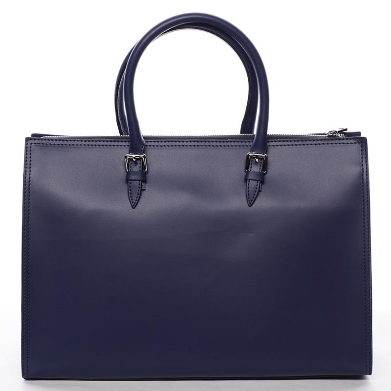 Elegantní dámská kožená kabelka modrá - ItalY Rohais