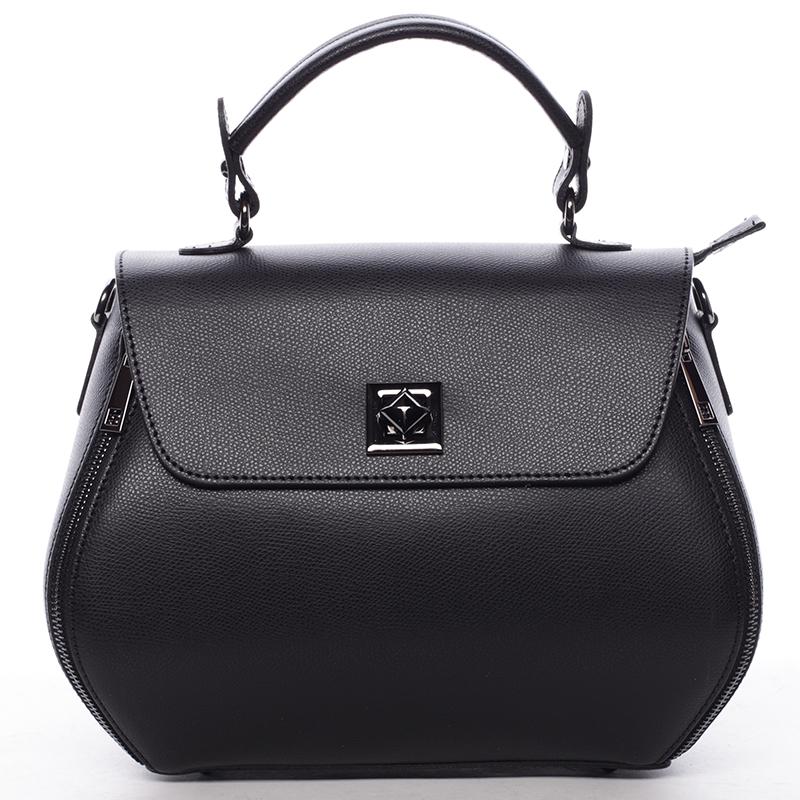 Exkluzivní dámská kožená kabelka černá - ItalY Aubine