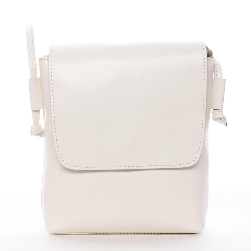 Dámská kožená crossbody kabelka krémově bílá - ItalY Tamia