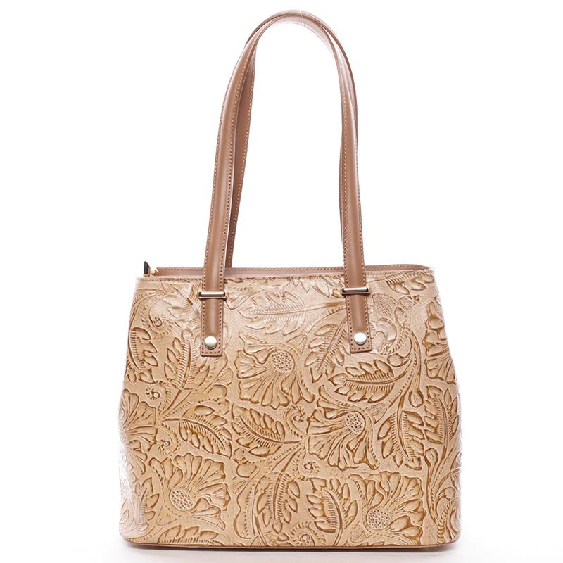 Exkluzivní dámská kožená kabelka koňakově hnědá - ItalY Logistilla