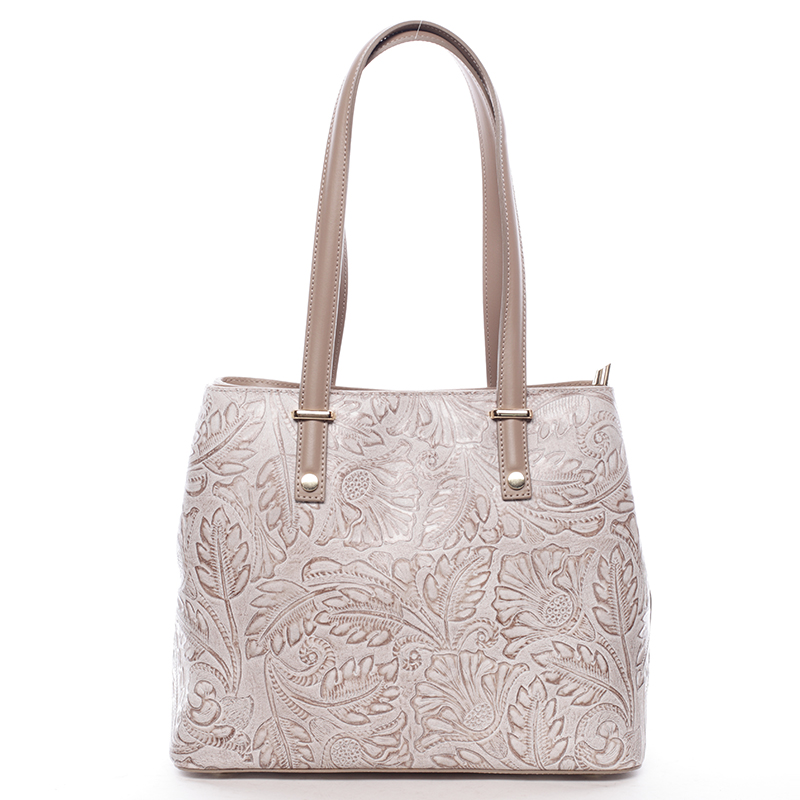 Exkluzivní dámská kožená kabelka taupe - ItalY Logistilla