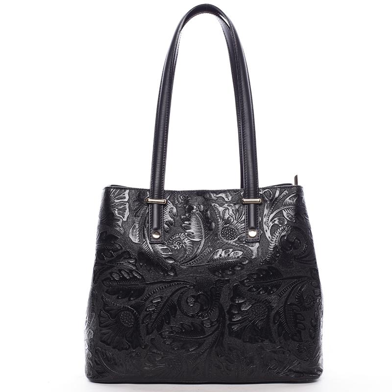 Exkluzivní dámská kožená kabelka černá - ItalY Logistilla