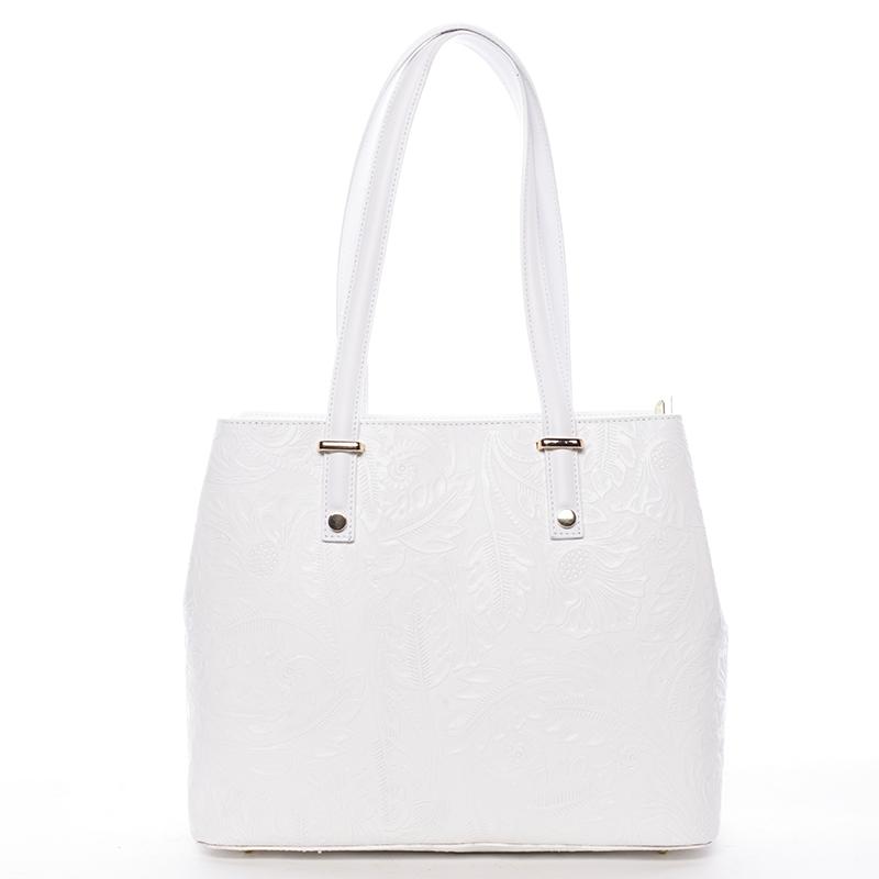 Exkluzivní dámská kožená kabelka bílá - ItalY Logistilla